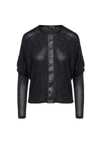 Dark Grey Batwing Top with Faux Leather Detail