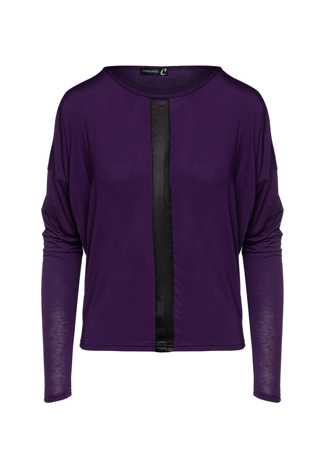 Ink Colour Batwing Top with Faux Leather Detail