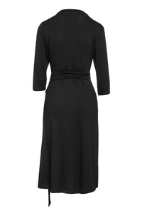 Black Empire Line Dress with Belt