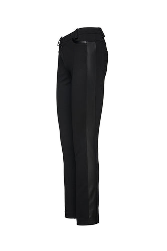 Black Fitted Jeggings with Faux Leather Detail