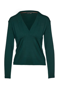 Green Long Sleeve Faux Wrap Top in Stretch Jersey Sustainable Fabric