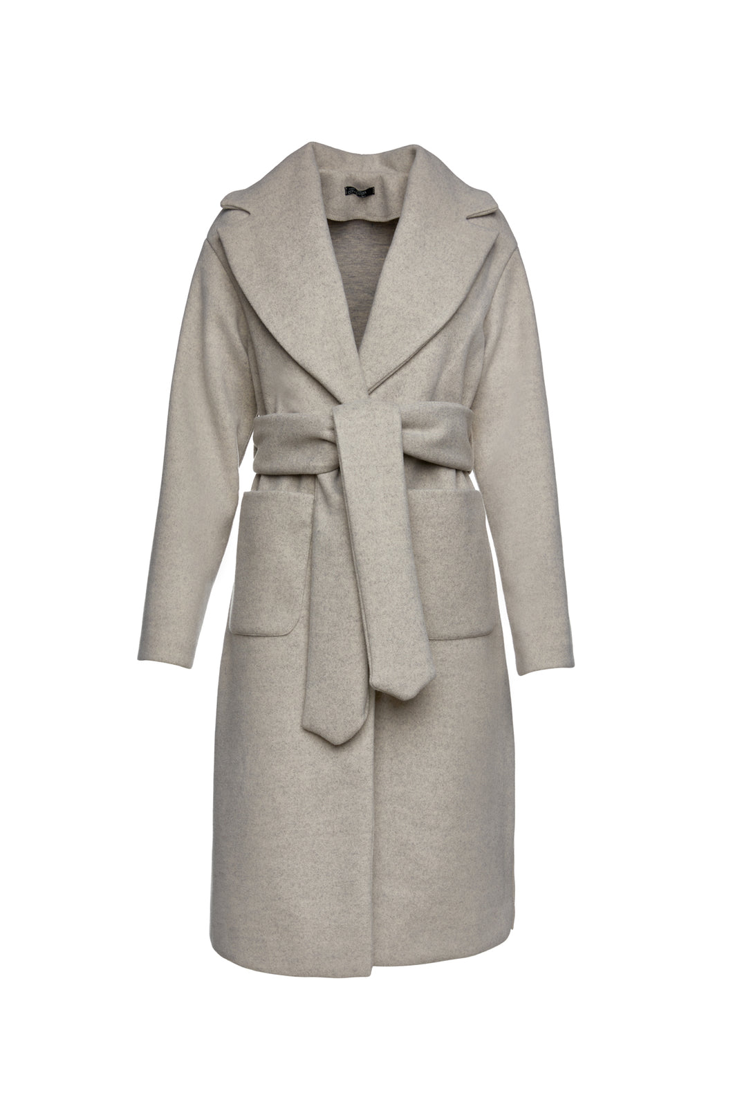Long Sand Colour Mélange Mouflon Coat with Belt