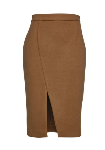 Camel Mouflon Pencil Skirt