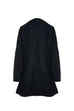Load image into Gallery viewer, Black Mouflon Coat with Faux Leather Detail