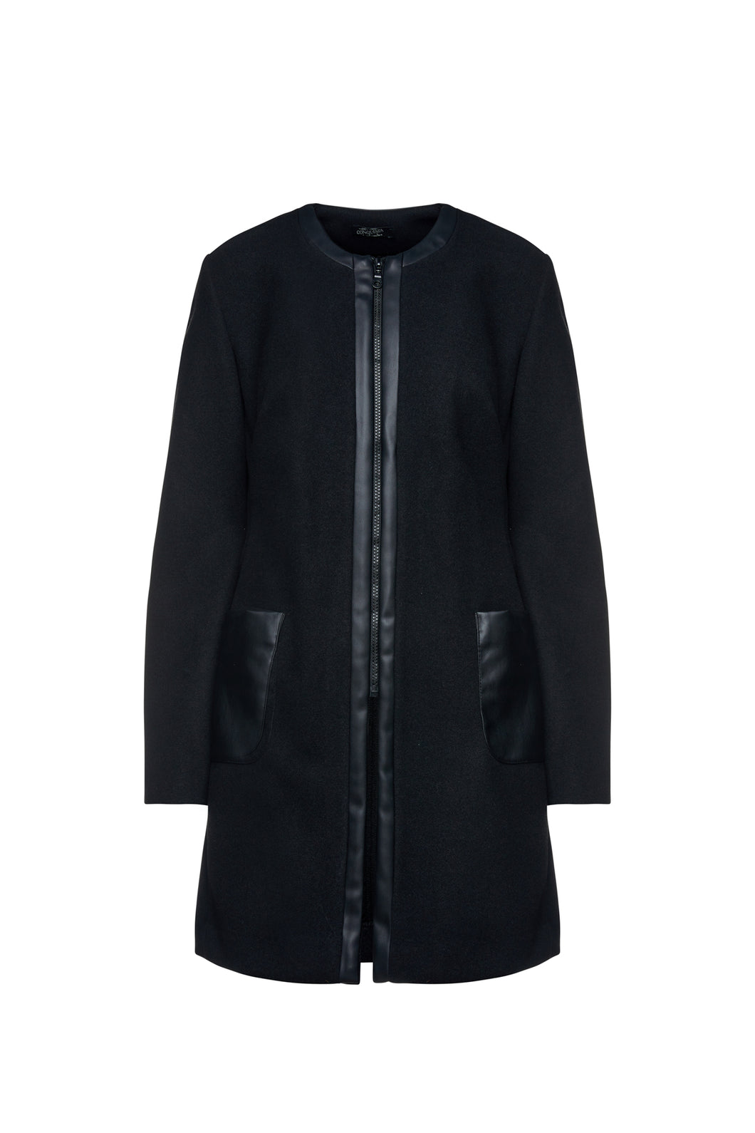 Black Mouflon Coat with Faux Leather Detail