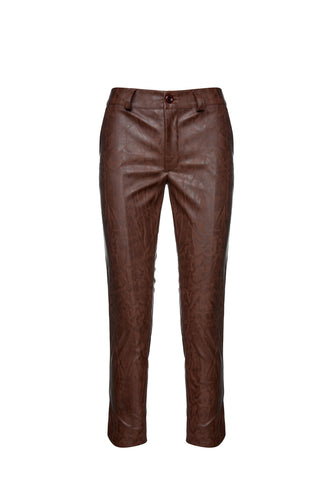 Chocolate Brown Faux Moiré Leather 7/8 Pants
