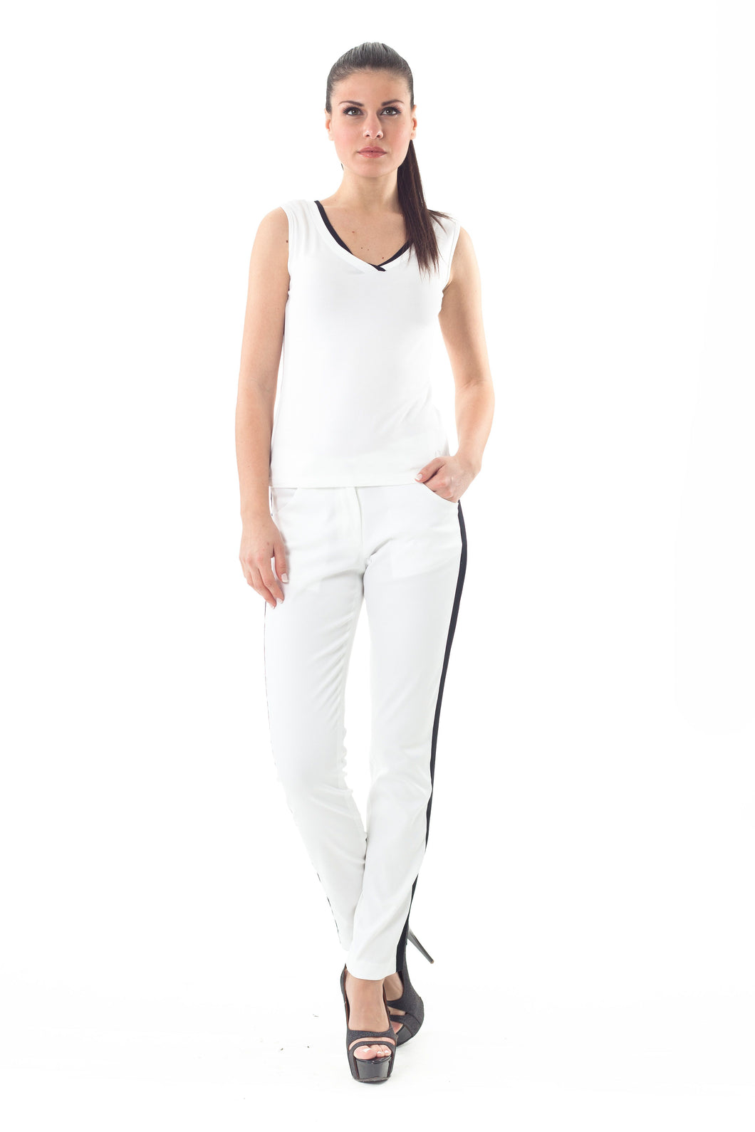 High-Waisted Cotton Pants