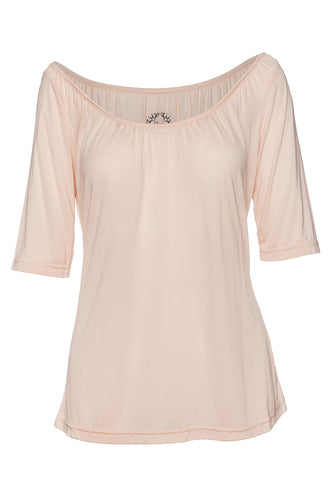 Elbow Sleeve Light Pink Top