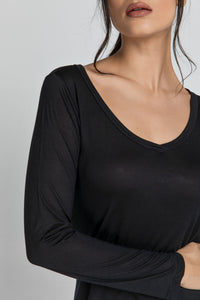 Black V Neck Top by SWL