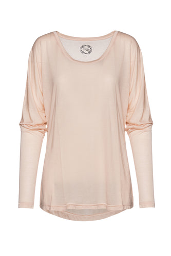 Light Pink Top with Batwing Sleeves