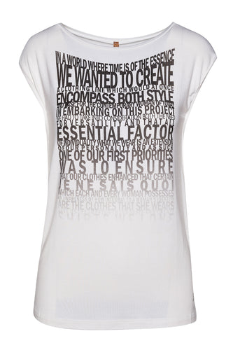 Sleeveless White Top with Word Print