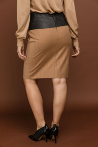 Camel Striped Pencil Skirt by Si Fashion