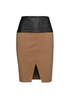 Load image into Gallery viewer, Camel Striped Pencil Skirt by Si Fashion