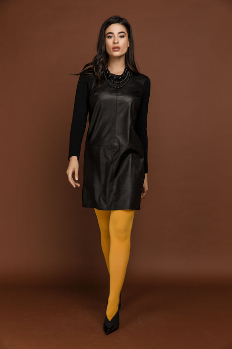 Black Dress with Faux Leather Detail by Si Fashion