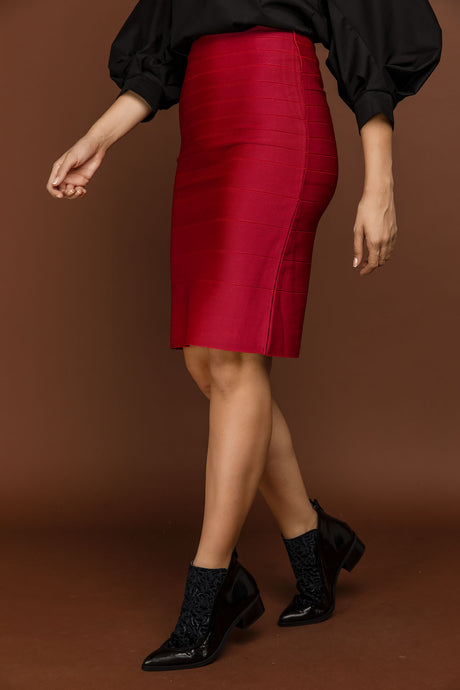 Fitted Red Stretch Skirt by Si Fashion