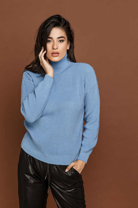 Blue Turtleneck Pullover by Si Fashion