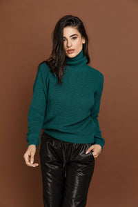 Petrol Blue Turtleneck Pullover by Si Fashion