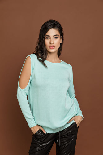 Mint Green Cold Shoulder Top by Si Fashion