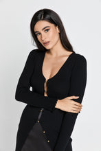 Load image into Gallery viewer, Long Black Knit Cardigan