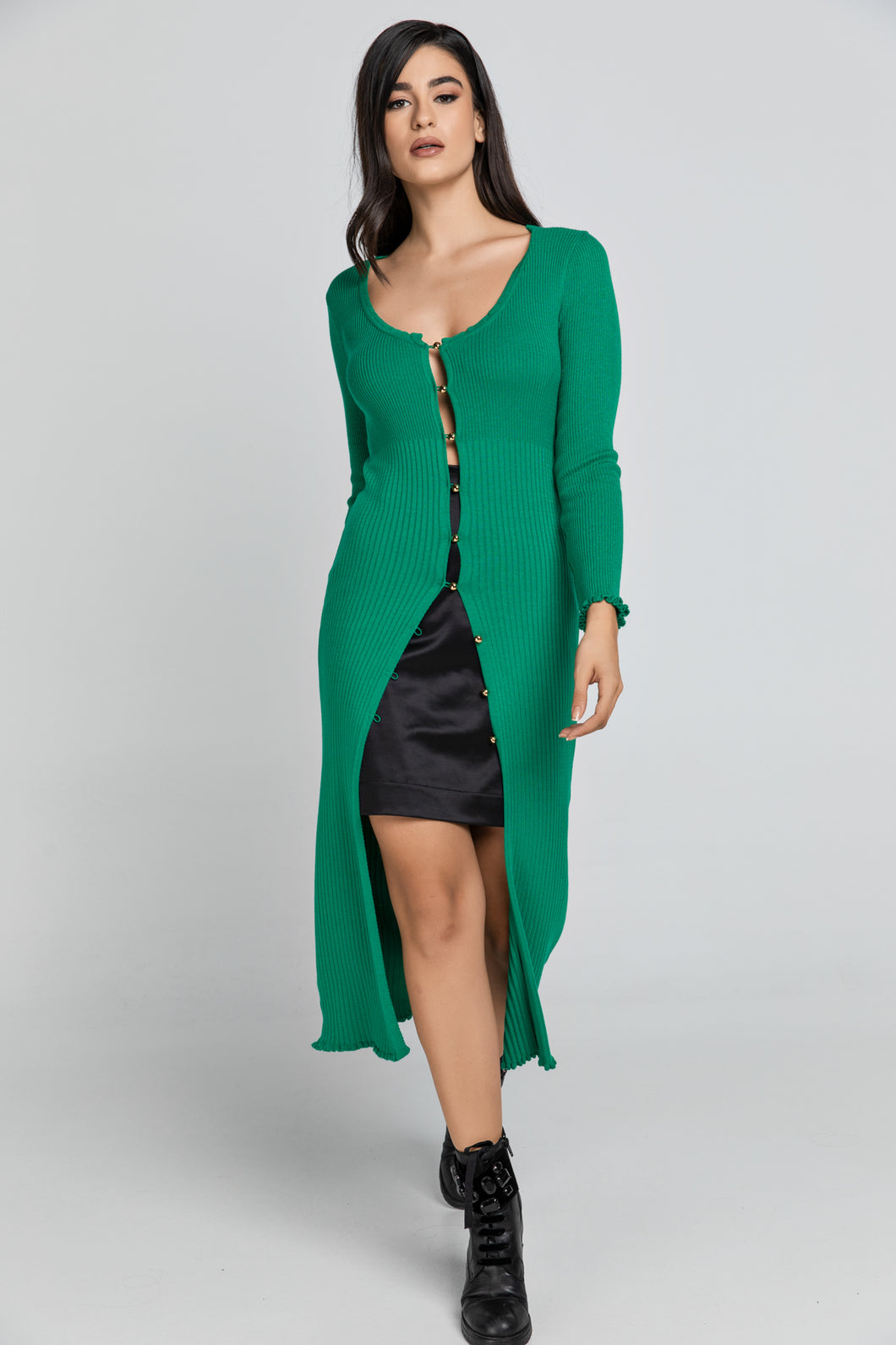 Long Green Knit Cardigan