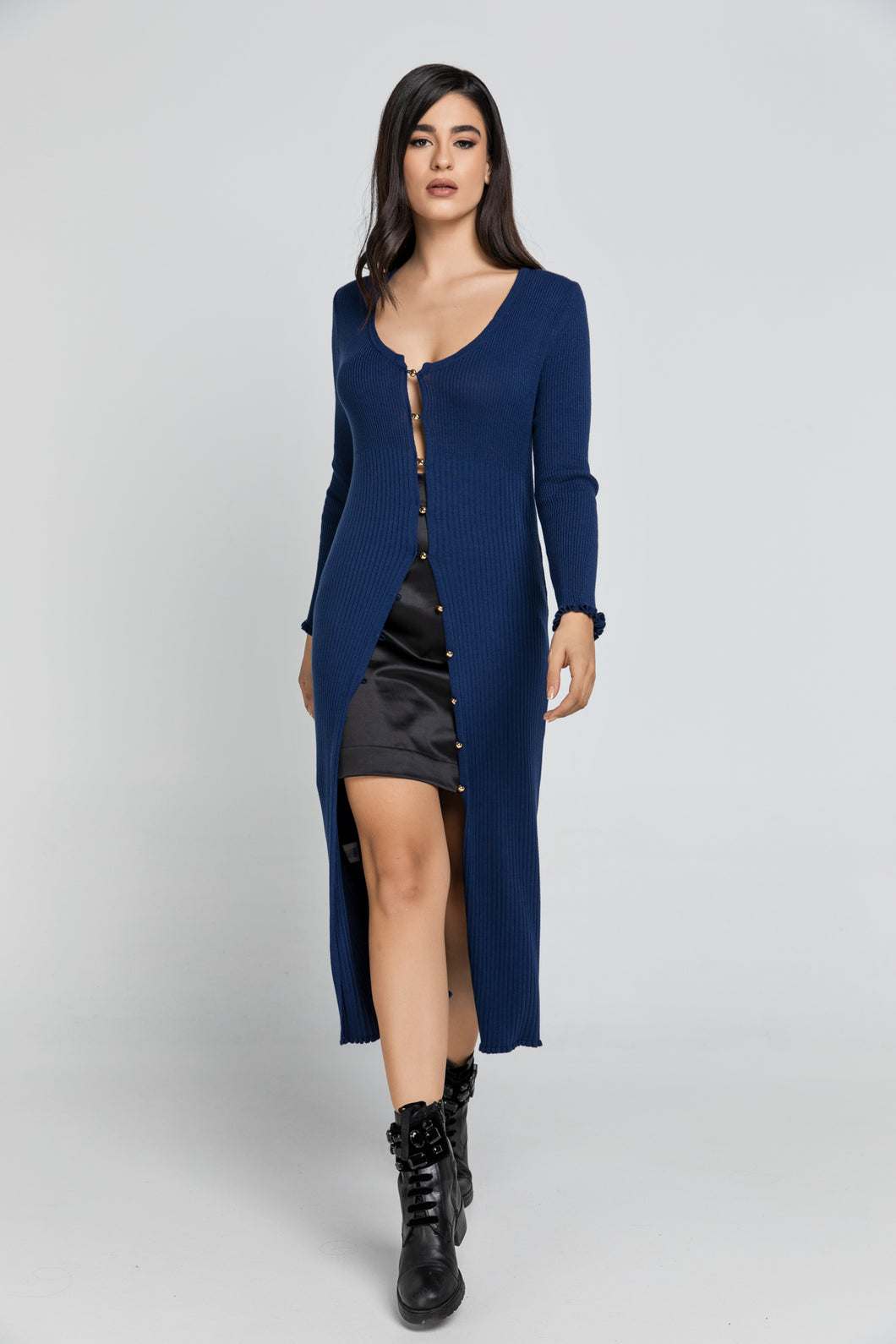 Long Dark Blue Knit Cardigan