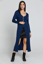 Load image into Gallery viewer, Long Dark Blue Knit Cardigan