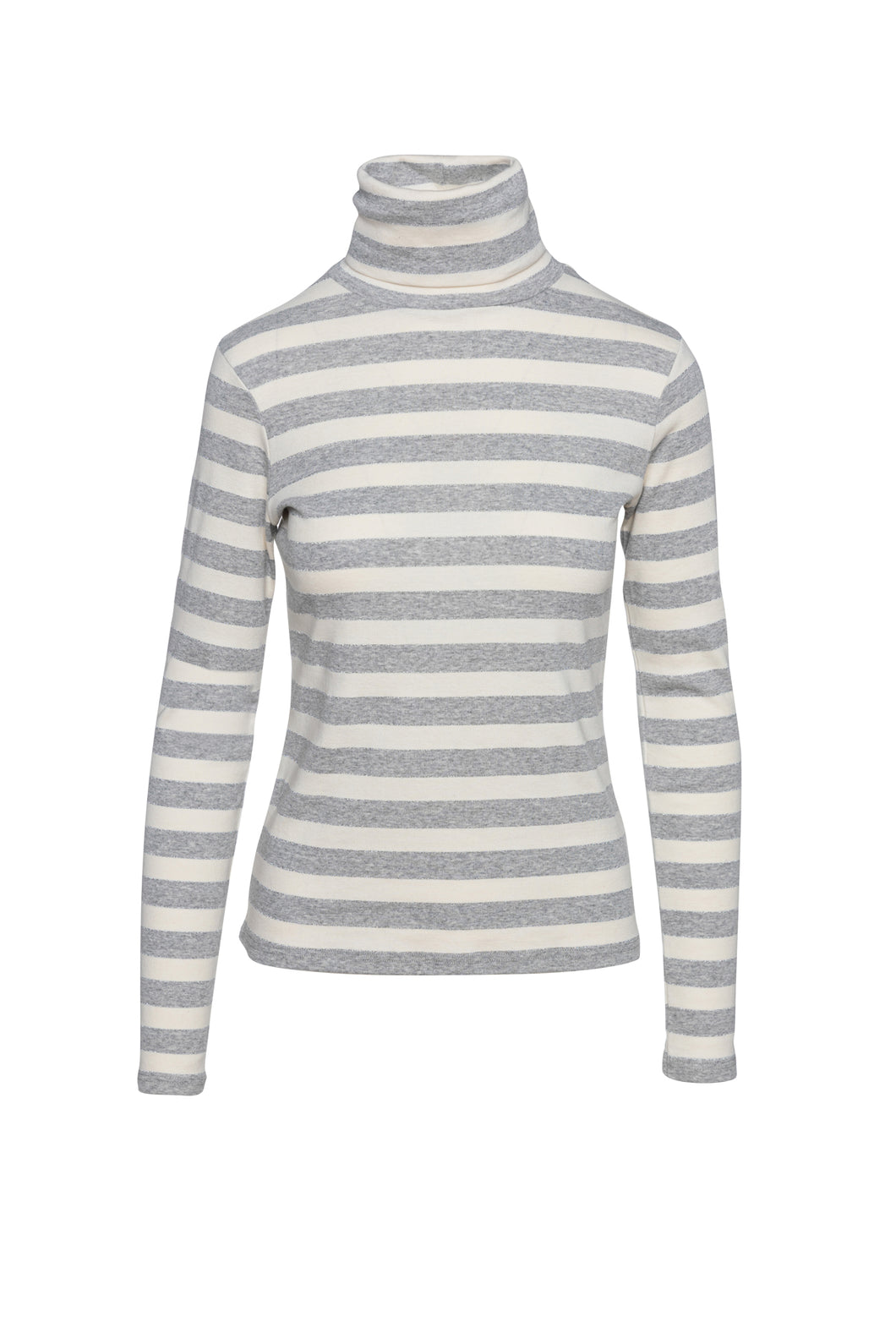 Striped Ecru and Grey Polo Neck Top