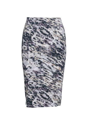 Animal Print Stretch Midi Skirt