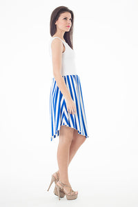 Contrast Fabric Sleeveless Striped Dress