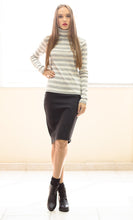 Load image into Gallery viewer, Striped Ecru and Grey Polo Neck Top