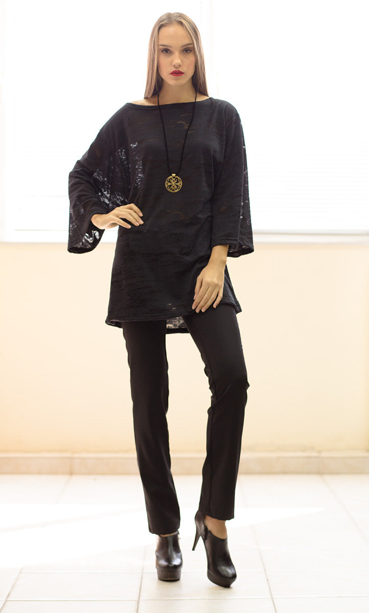 Semi-Sheer Patterned Tunic