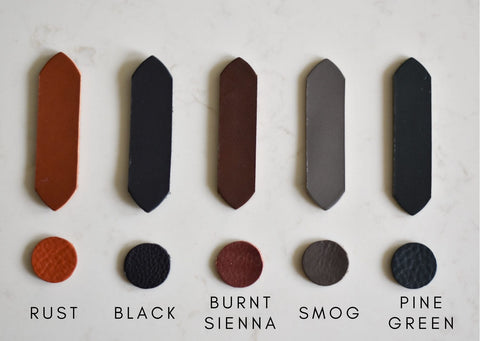 LEATHER NEEDLE THREAD colours of vegetable tanned leather samples
