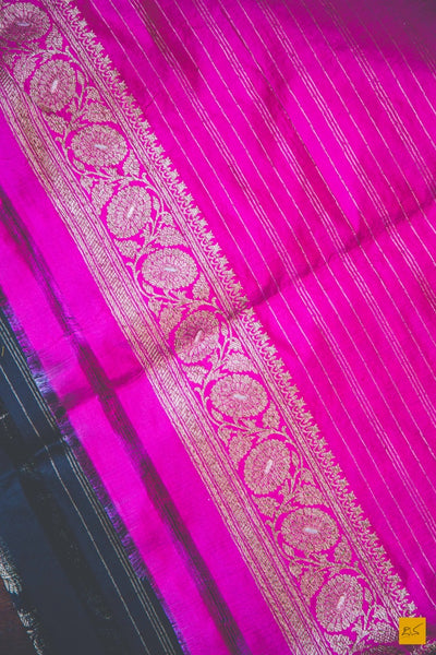 A beautiful banarasi katan silk handwoven brocade saree with meenakari in Rupa zari. The body of the saree has full brocade work in antique zari. The blouse is in pink colour. New trend of Banarasi Saree designs, Banarasi Saree for artists, art lovers, architects, saree lovers, Saree connoisseurs, musicians, dancers, doctors, Banarasi katan silk saree, indian saree images, latest sarees with price, only saree images, new Banarasi saree design.