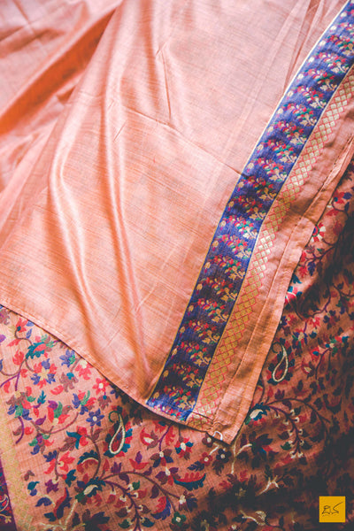 This is a gorgeous Banarasi munga silk Saree with peach body. New trend of Banarasi Saree designs, Banarasi Saree for artists, art lovers, architects, saree lovers, Saree connoisseurs, musicians, dancers, doctors, Banarasi silk saree, indian saree images, latest sarees with price, only saree images, new Banarasi saree design.