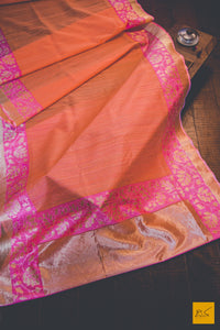 This is a gorgeous Banarasi Silk Saree with Woven Dupion silk stripes and a banarasi traditional pink border. New trend of Banarasi Saree designs, Banarasi Saree for artists, art lovers, architects, saree lovers, Saree connoisseurs, musicians, dancers, doctors, Banarasi silk saree, indian saree images, latest sarees with price, only saree images, new Banarasi saree design.