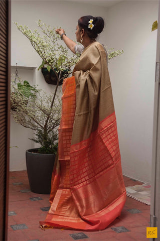 Beige and orange Dupion silk handwoven saree