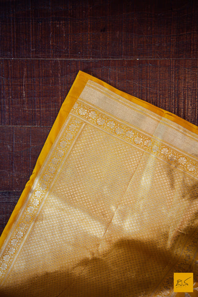 A beautiful katan silk banarasi handwoven sari with classic banarasi jangla weave. Intricate jaal in the body and the blouse is a rich brocade. New trend of Banarasi Saree designs, Banarasi Saree for artists, art lovers, architects, saree lovers, Saree connoisseurs, musicians, dancers, doctors, Banarasi Katan silk saree, indian saree images, latest sarees with price, only saree images, new Banarasi saree design.
