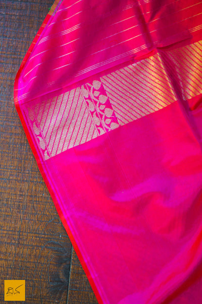 This is a gorgeous Banarasi silk handwoven Saree where the pink part has beautifully woven mango pattern zari work and it is in pure silk. The plain green part is of tussar silk. The blouse is in pink with woven border. New trend of Banarasi Saree designs, Banarasi Saree for artists, art lovers, architects, saree lovers, Saree connoisseurs, musicians, dancers, doctors, Banarasi silk saree, indian saree images, latest sarees with price, only saree images, new Banarasi saree design.