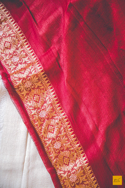 This is a wonderful Banarasi Tussar Georgette handwoven Saree with a Cream-Red body. New trend of Banarasi Saree designs, Banarasi Saree for artists, art lovers, architects, saree lovers, Saree connoisseurs, musicians, dancers, doctors, Banarasi silk saree, indian saree images, latest sarees with price, only saree images, new Banarasi saree design.