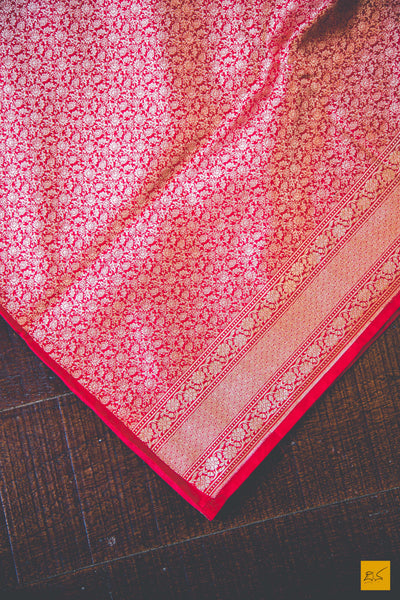 A beautiful katan silk banarasi sari with a red body. New trend of Banarasi Saree designs, Banarasi Saree for artists, art lovers, architects, saree lovers, Saree connoisseurs, musicians, dancers, doctors, Banarasi Katan silk saree, indian saree images, latest sarees with price, only saree images, new Banarasi saree design.