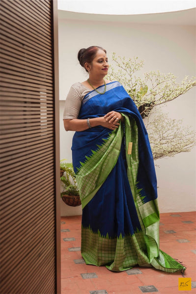 This is a gorgeous dupion silk handwoven Saree with blue and green checks border. New trend of Dupion Silk Saree designs,  Dupion Silk Saree for artists, art lovers, architects, saree lovers, Saree connoisseurs, musicians, dancers, doctors, Dupion Silk saree, indian saree images, latest sarees with price, only saree images, new Dupion Silk saree design.