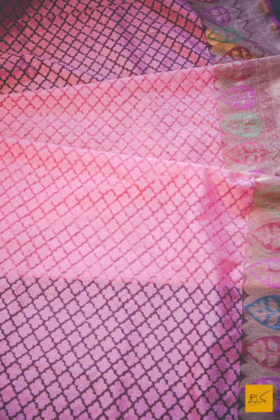This wonderful Banarasi Silk Saree has it's body covered in pink colour. New trend of Banarasi Saree designs, Banarasi Saree for artists, art lovers, architects, saree lovers, Saree connoisseurs, musicians, dancers, doctors, Banarasi silk saree, indian saree images, latest sarees with price, only saree images, new Banarasi saree design.