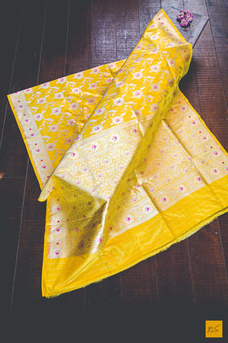 Bright Yellow Banarasi Katan silk handwoven saree