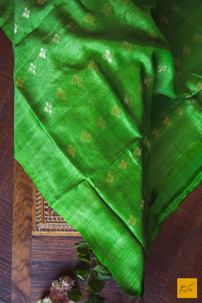 Pear Green Pure Banarasi Tussar silk handwoven saree