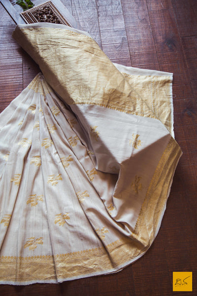 A magnificent banarasi tussar georgette handwoven sari with kadhwa buttas. This saree can be dyed to any colour. The material tussar georgette is very easy to drape. New trend of Banarasi Saree designs, Banarasi Saree for artists, art lovers, architects, saree lovers, Saree connoisseurs, musicians, dancers, doctors, Banarasi Katan silk saree, indian saree images, latest sarees with price, only saree images, new Banarasi saree design.