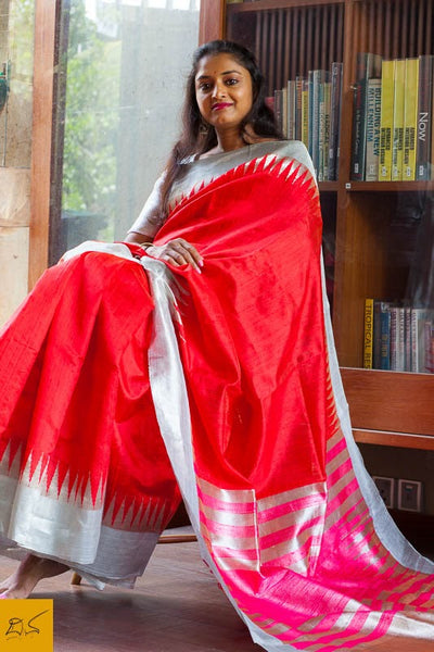This is a gorgeous dupion silk handwoven Saree with red body. New trend of Dupion Silk Saree designs,  Dupion Silk Saree for artists, art lovers, architects, saree lovers, Saree connoisseurs, musicians, dancers, doctors, Dupion Silk saree, indian saree images, latest sarees with price, only saree images, new Dupion Silk saree design.