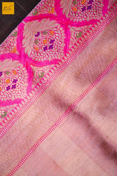 This is a gorgeous Banarasi handwoven silk Saree with buttas woven in cutwork style. The highlight of the saree is the meena work in the buttas. The blouse is of pink colour with woven border. New trend of Banarasi Saree designs, Banarasi Saree for artists, art lovers, architects, saree lovers, Saree connoisseurs, musicians, dancers, doctors, Banarasi silk saree, indian saree images, latest sarees with price, only saree images, new Banarasi saree design.