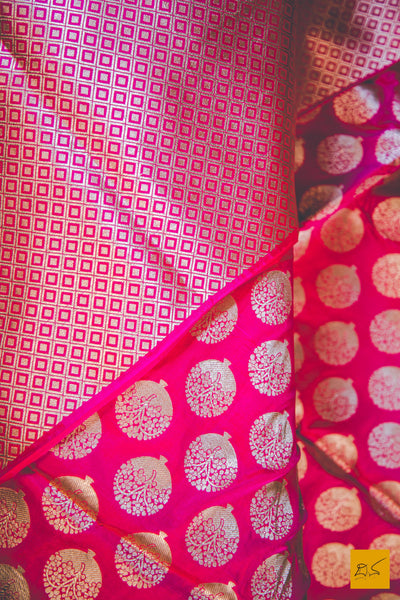 This wonderful Banarasi Katan Silk Saree has a body in pink colour. New trend of Banarasi Saree designs, Banarasi Saree for artists, art lovers, architects, saree lovers, Saree connoisseurs, musicians, dancers, doctors, Banarasi silk saree, indian saree images, latest sarees with price, only saree images, new Banarasi saree design.