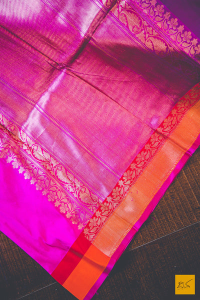A beautiful katan silk banarasi handwoven sari with a pink body. New trend of Banarasi Saree designs, Banarasi Saree for artists, art lovers, architects, saree lovers, Saree connoisseurs, musicians, dancers, doctors, Banarasi Katan silk saree, indian saree images, latest sarees with price, only saree images, new Banarasi saree design.