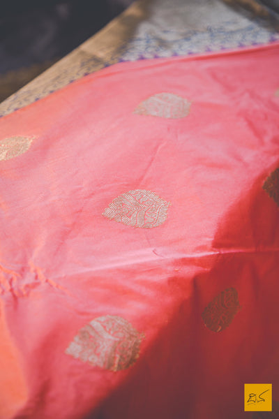 A beautiful katan silk banarasi handwoven sari with a peach and grey body. New trend of Banarasi Saree designs, Banarasi Saree for artists, art lovers, architects, saree lovers, Saree connoisseurs, musicians, dancers, doctors, Banarasi Katan silk saree, indian saree images, latest sarees with price, only saree images, new Banarasi saree design.